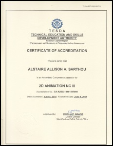 Alstaire Sarthou Certificate of Accreditation - 2D Animation NCIII