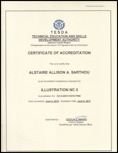 Alstaire Sarthou Certificate of Accreditation - Illustation NCII