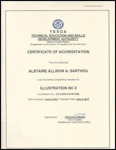 Alstaire Sarthou Certificate of Accreditation - Illustation NCII