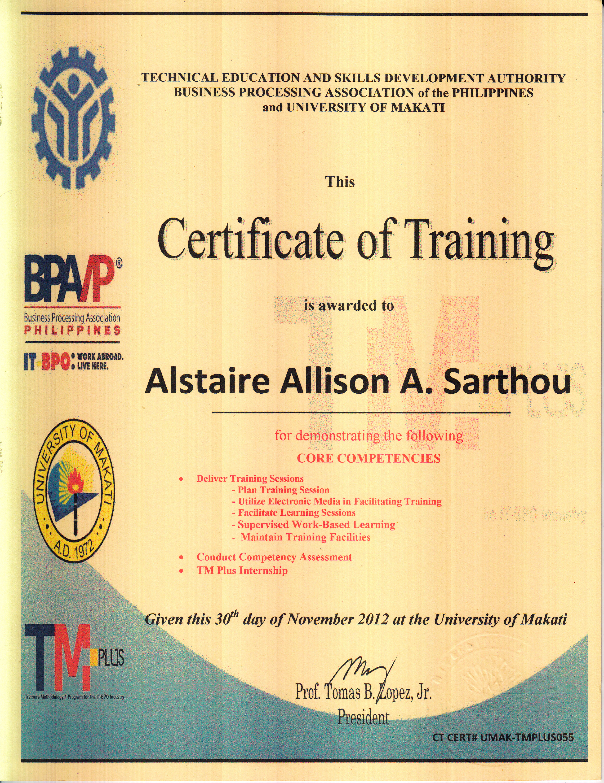 word training certificate